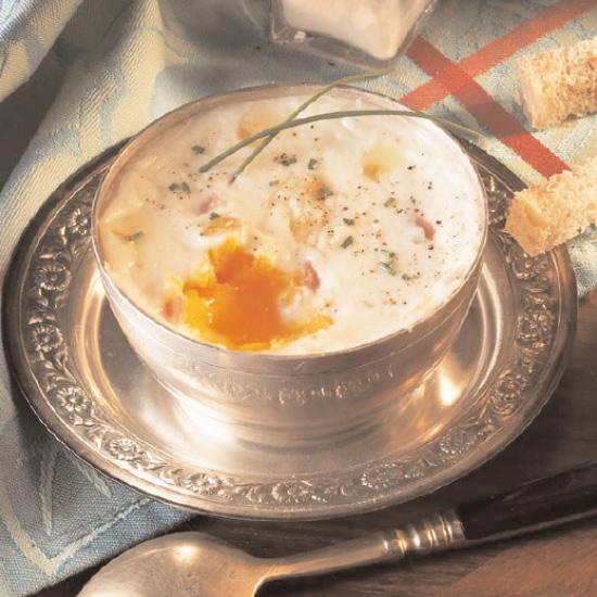 Oeufs à la crème au Maroilles et ciboulette