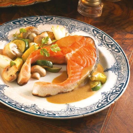 Darnes de saumon sauce au Maroilles et Chimay bleue